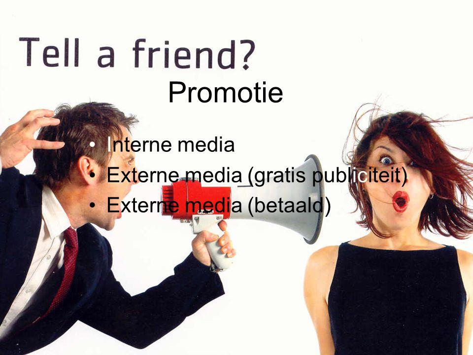 Promotie Interne media Externe media (gratis publiciteit) Externe media (betaald)