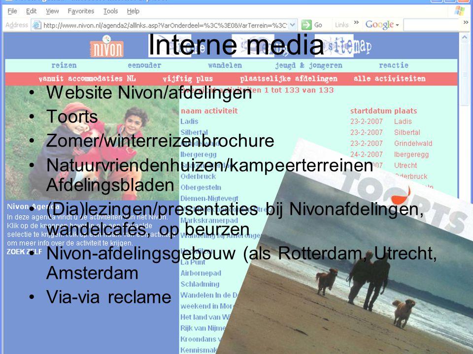 Interne media Website Nivon/afdelingen Toorts Zomer/winterreizenbrochure Natuurvriendenhuizen/kampeerterreinen Afdelingsbladen (Dia)lezingen/presentat