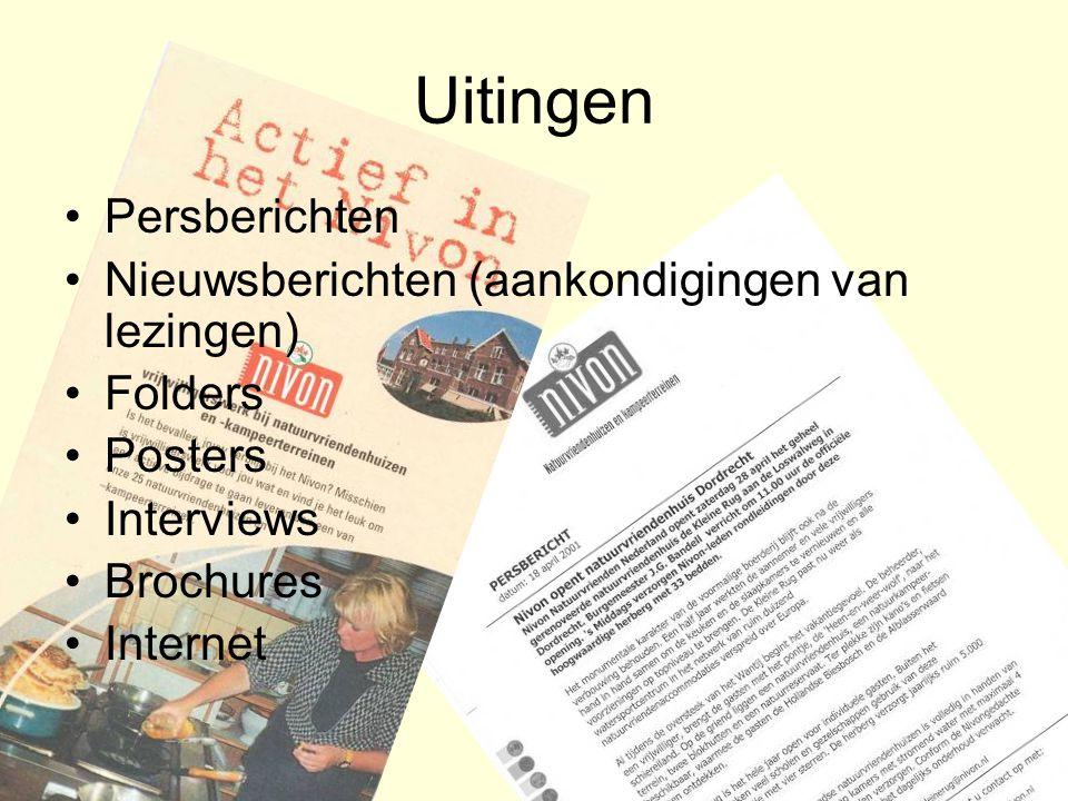Uitingen Persberichten Nieuwsberichten (aankondigingen van lezingen) Folders Posters Interviews Brochures Internet
