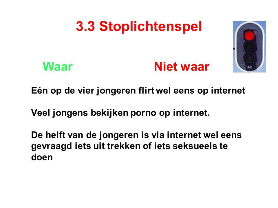3.3 Stoplichtenspel Waar Niet waar Eén op de vier jongeren flirt wel eens op internet Veel jongens bekijken porno op internet.