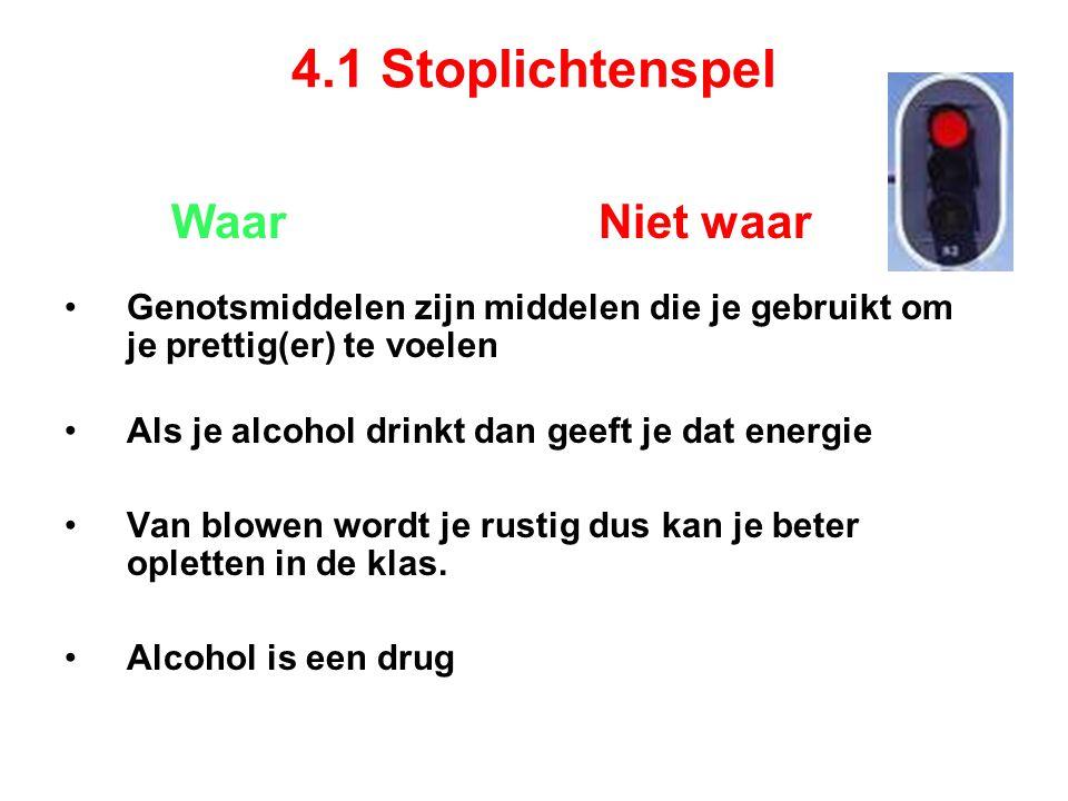 4.1 Stoplichtenspel Waar Niet waar Genotsmiddelen zijn middelen die je gebruikt om je prettig(er) te voelen Als je alcohol drinkt dan geeft je dat energie Van blowen wordt je rustig dus kan je beter opletten in de klas.
