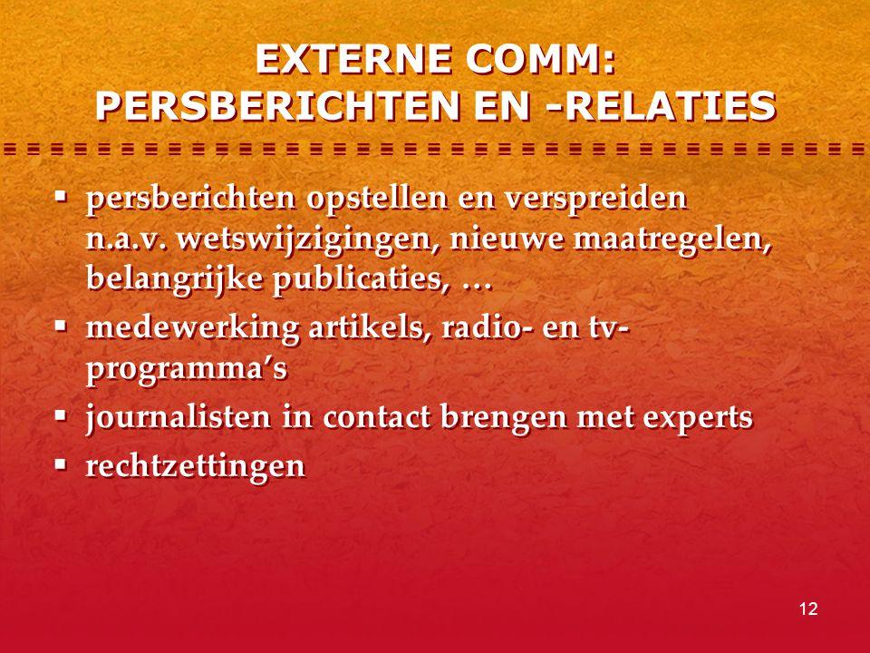 12 EXTERNE COMM: PERSBERICHTEN EN -RELATIES  persberichten opstellen en verspreiden n.a.v.