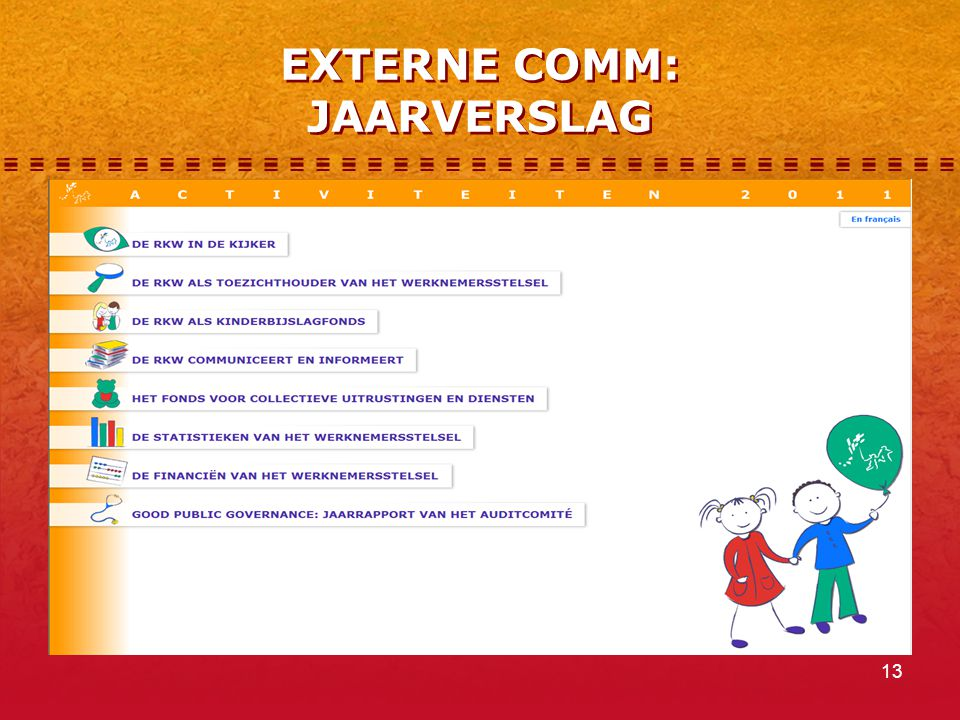 13 EXTERNE COMM: JAARVERSLAG