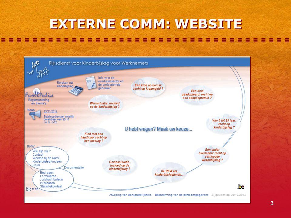 4 EXTERNE COMM: WEBSITE (2)  thematisch vragenscenario, dat inspeelt op alle persoonlijke situaties (bv.