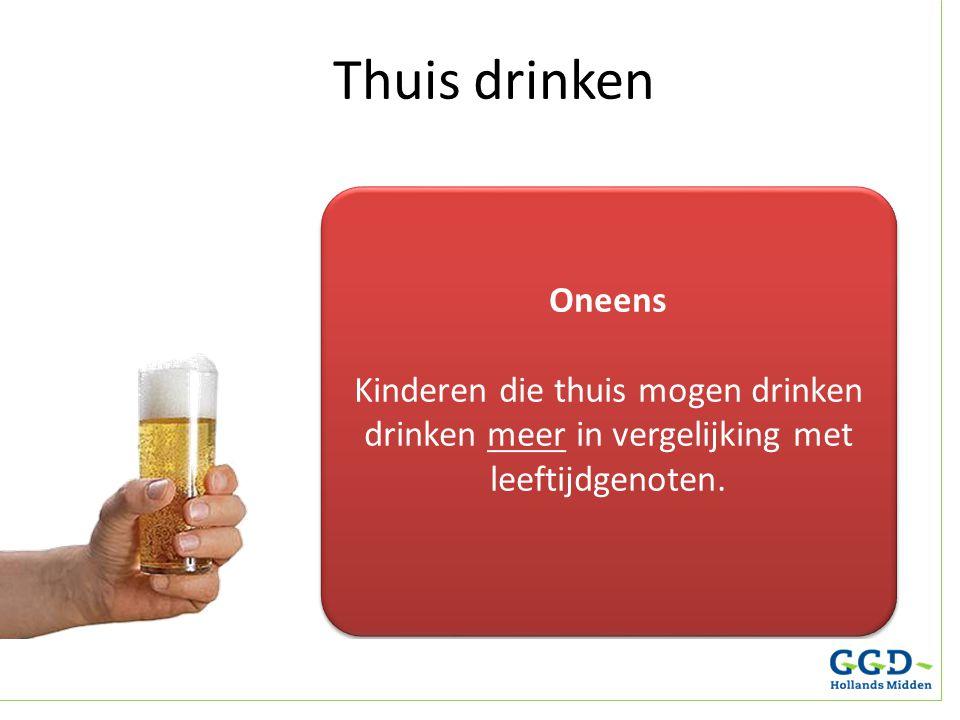 Oneens Kinderen die thuis mogen drinken drinken meer in vergelijking met leeftijdgenoten. Oneens Kinderen die thuis mogen drinken drinken meer in verg