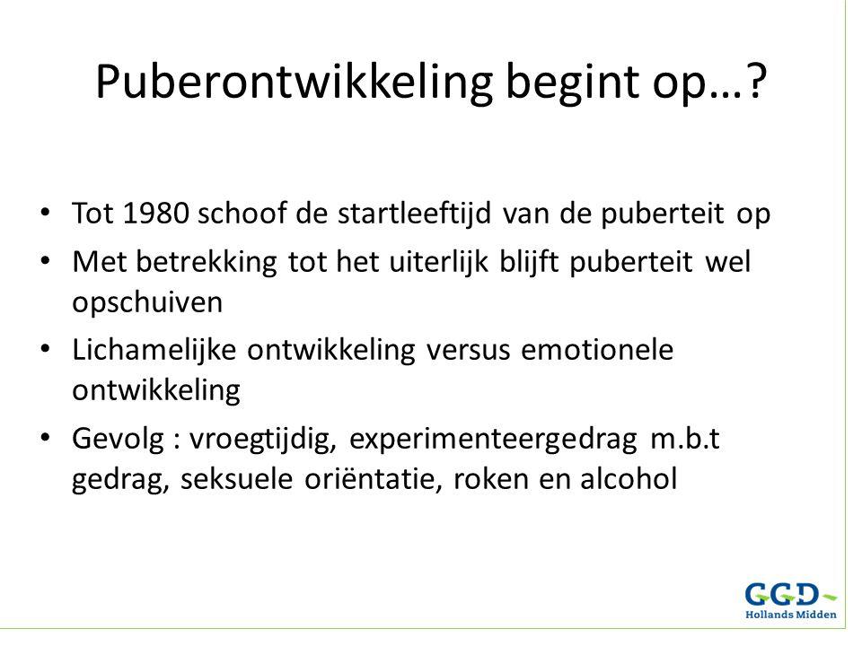 Puberontwikkeling begint op…? Tot 1980 schoof de startleeftijd van de puberteit op Met betrekking tot het uiterlijk blijft puberteit wel opschuiven Li