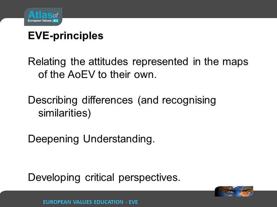 EUROPEAN VALUES EDUCATION - EVE EVE-principles Relating the attitudes represented in the maps of the AoEV to their own.