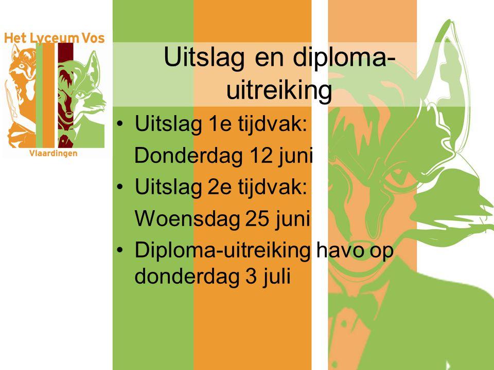 Uitslag en diploma- uitreiking Uitslag 1e tijdvak: Donderdag 12 juni Uitslag 2e tijdvak: Woensdag 25 juni Diploma-uitreiking havo op donderdag 3 juli