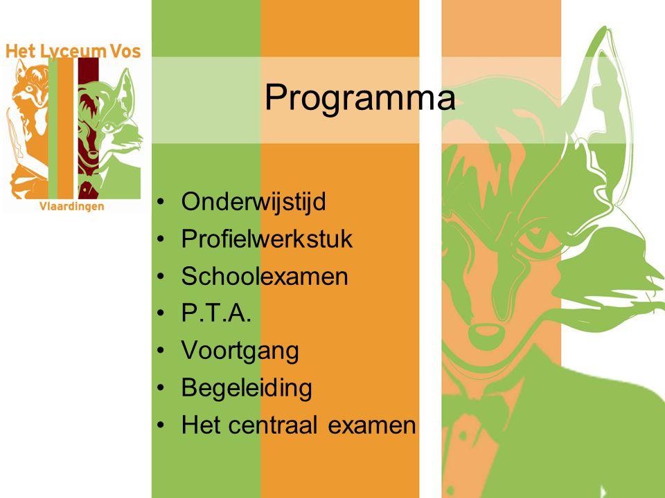 Programma Onderwijstijd Profielwerkstuk Schoolexamen P.T.A. Voortgang Begeleiding Het centraal examen