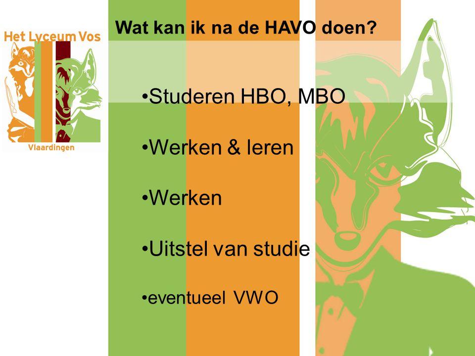 Wat kan ik na de HAVO doen? Studeren HBO, MBO Werken & leren Werken Uitstel van studie eventueel VWO