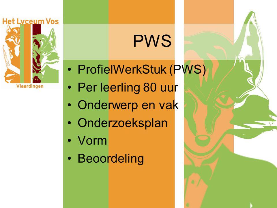 PWS ProfielWerkStuk (PWS) Per leerling 80 uur Onderwerp en vak Onderzoeksplan Vorm Beoordeling