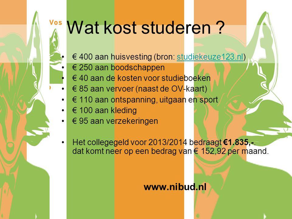 Wat kost studeren ? € 400 aan huisvesting (bron: studiekeuze123.nl)studiekeuze123.nl € 250 aan boodschappen € 40 aan de kosten voor studieboeken € 85