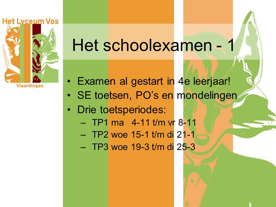 Het schoolexamen - 1 Examen al gestart in 4e leerjaar! SE toetsen, PO's en mondelingen Drie toetsperiodes: – TP1 ma 4-11 t/m vr 8-11 – TP2 woe 15-1 t/
