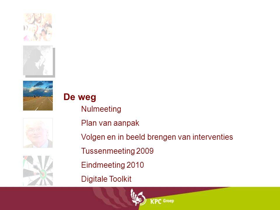 Nulmeeting Plan van aanpak Volgen en in beeld brengen van interventies Tussenmeeting 2009 Eindmeeting 2010 Digitale Toolkit De weg