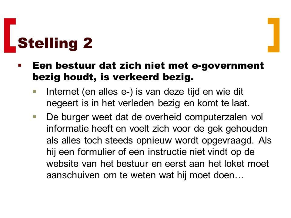 Stelling 3  e-Government is geen middel om te scoren maar zonder kun je alleen blunderen.