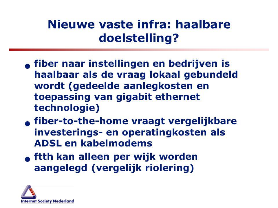 Nieuwe vaste infra: haalbare doelstelling? fiber naar instellingen en bedrijven is haalbaar als de vraag lokaal gebundeld wordt (gedeelde aanlegkosten