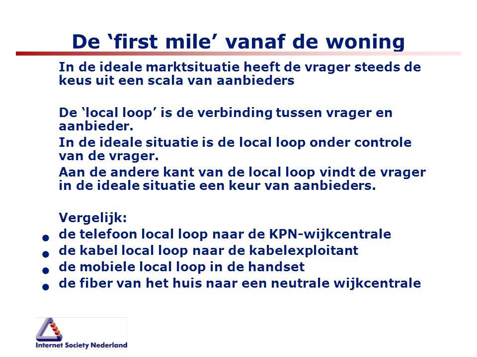 De 'first mile' vanaf de woning In de ideale marktsituatie heeft de vrager steeds de keus uit een scala van aanbieders De 'local loop' is de verbindin