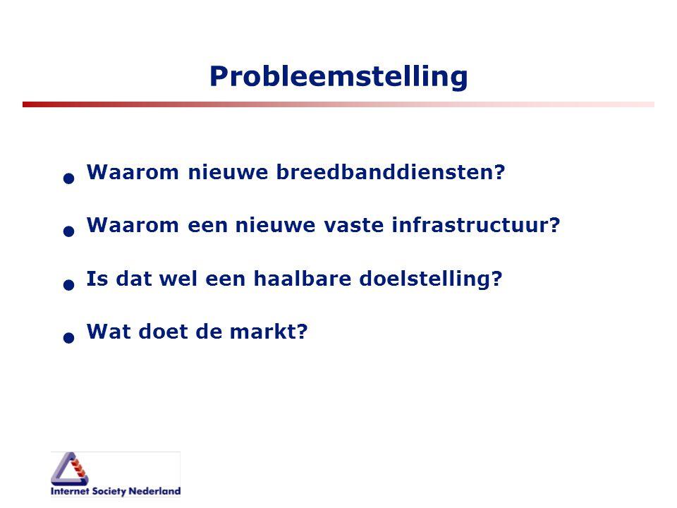 Probleemstelling Waarom nieuwe breedbanddiensten? Waarom een nieuwe vaste infrastructuur? Is dat wel een haalbare doelstelling? Wat doet de markt?