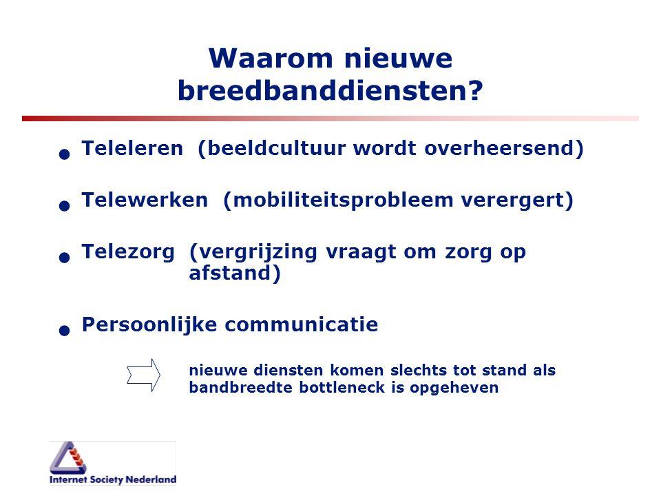 Waarom nieuwe breedbanddiensten? Teleleren (beeldcultuur wordt overheersend) Telewerken (mobiliteitsprobleem verergert) Telezorg (vergrijzing vraagt o