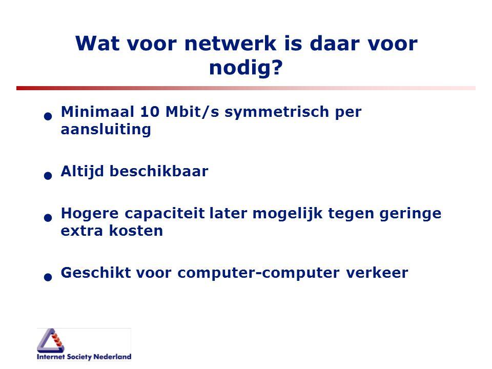 Wat voor netwerk is daar voor nodig? Minimaal 10 Mbit/s symmetrisch per aansluiting Altijd beschikbaar Hogere capaciteit later mogelijk tegen geringe