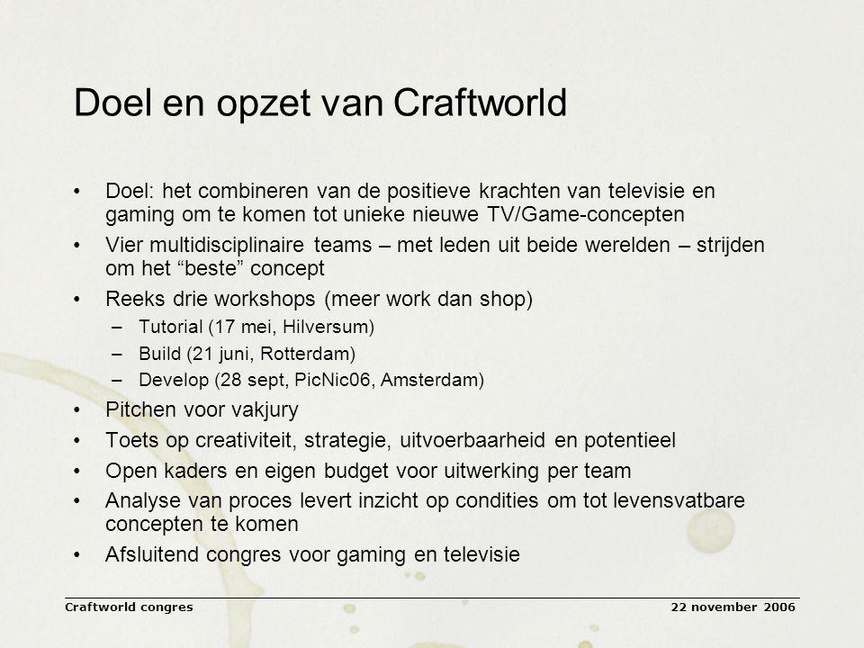 22 november 2006Craftworld congres Craftworld: the art of television and gaming Hoe lastig het is om te leren …