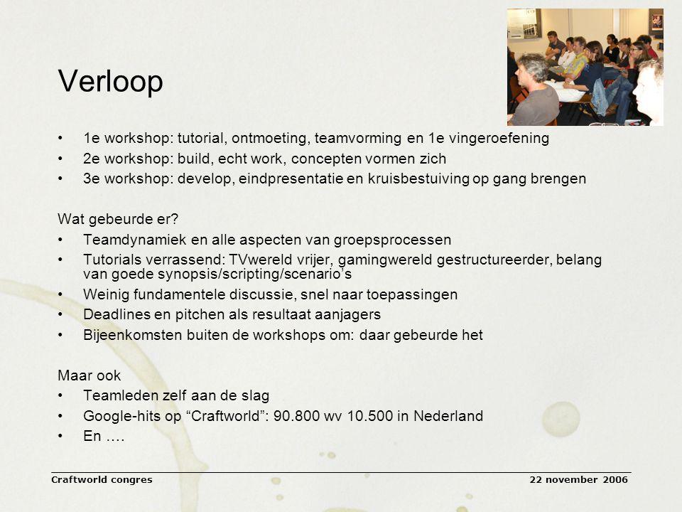22 november 2006Craftworld congres Verloop 1e workshop: tutorial, ontmoeting, teamvorming en 1e vingeroefening 2e workshop: build, echt work, concepten vormen zich 3e workshop: develop, eindpresentatie en kruisbestuiving op gang brengen Wat gebeurde er.