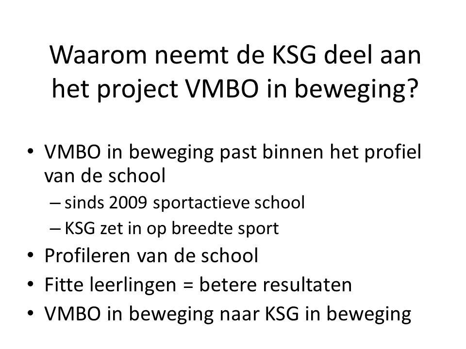Waarom neemt de KSG deel aan het project VMBO in beweging.