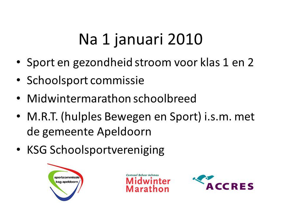 Na 1 januari 2010 Sport en gezondheid stroom voor klas 1 en 2 Schoolsport commissie Midwintermarathon schoolbreed M.R.T.