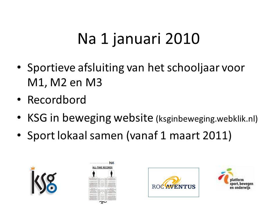 Na 1 januari 2010 Sportieve afsluiting van het schooljaar voor M1, M2 en M3 Recordbord KSG in beweging website (ksginbeweging.webklik.nl) Sport lokaal samen (vanaf 1 maart 2011)