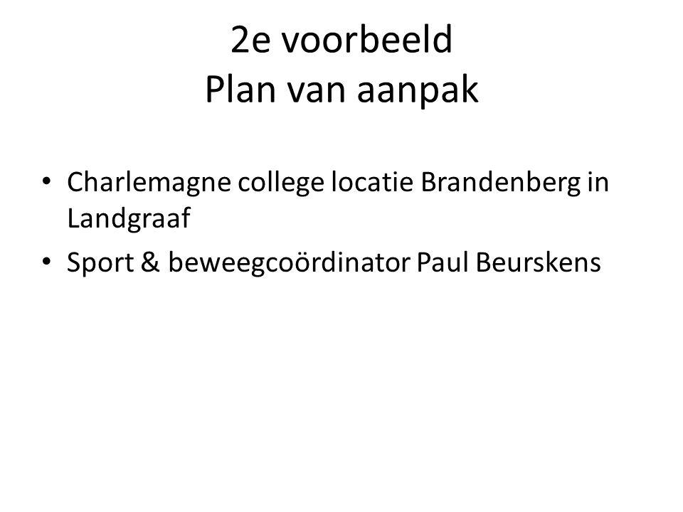 2e voorbeeld Plan van aanpak Charlemagne college locatie Brandenberg in Landgraaf Sport & beweegcoördinator Paul Beurskens