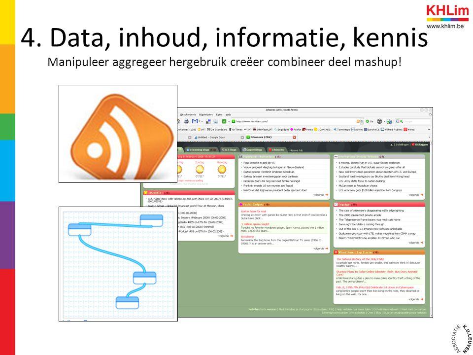 4. Data, inhoud, informatie, kennis Manipuleer aggregeer hergebruik creëer combineer deel mashup!