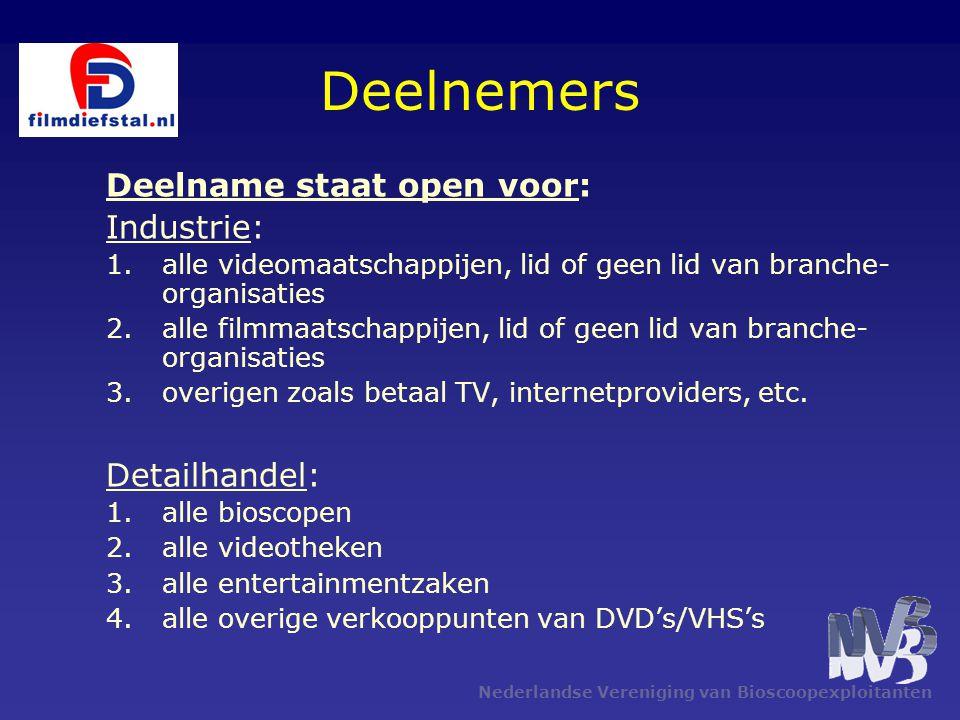Nederlandse Vereniging van Bioscoopexploitanten Deelnemers Deelname staat open voor: Industrie: 1.alle videomaatschappijen, lid of geen lid van branch