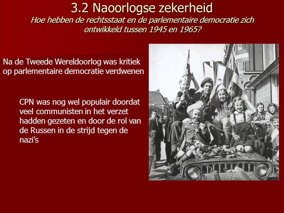 3.2 Naoorlogse zekerheid Hoe hebben de rechtsstaat en de parlementaire democratie zich ontwikkeld tussen 1945 en 1965.