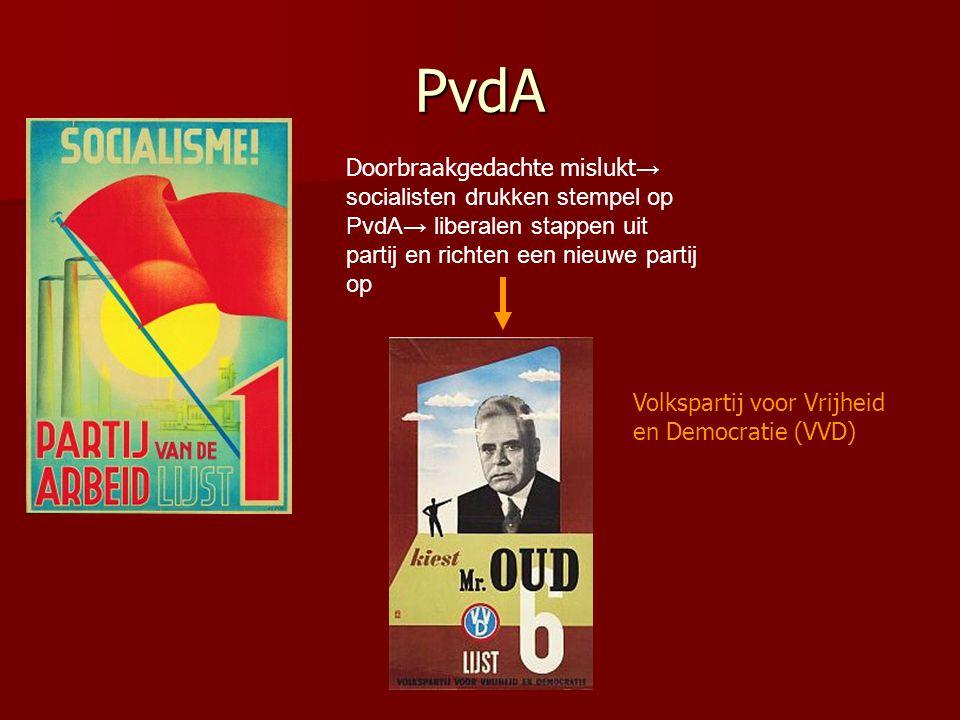 PvdA Doorbraakgedachte mislukt → socialisten drukken stempel op PvdA→ liberalen stappen uit partij en richten een nieuwe partij op Volkspartij voor Vrijheid en Democratie (VVD)