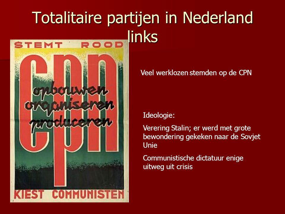 Totalitaire partijen in Nederland rechts Hitler en Mussolini als grote voorbeeld.