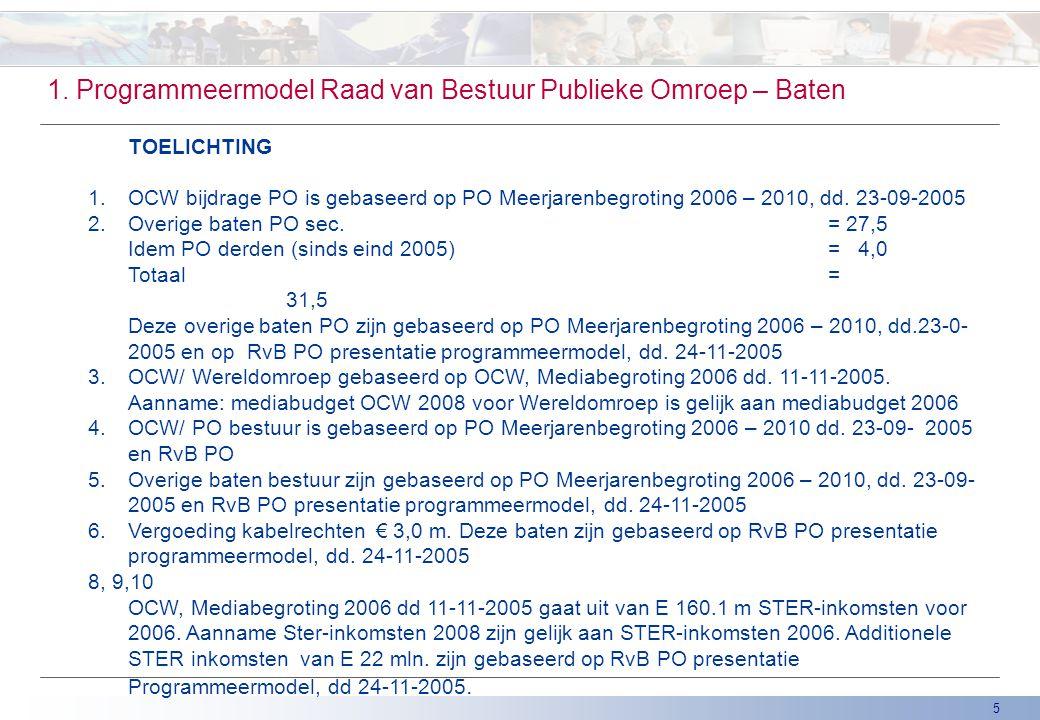 5 1. Programmeermodel Raad van Bestuur Publieke Omroep – Baten TOELICHTING 1. OCW bijdrage PO is gebaseerd op PO Meerjarenbegroting 2006 – 2010, dd. 2