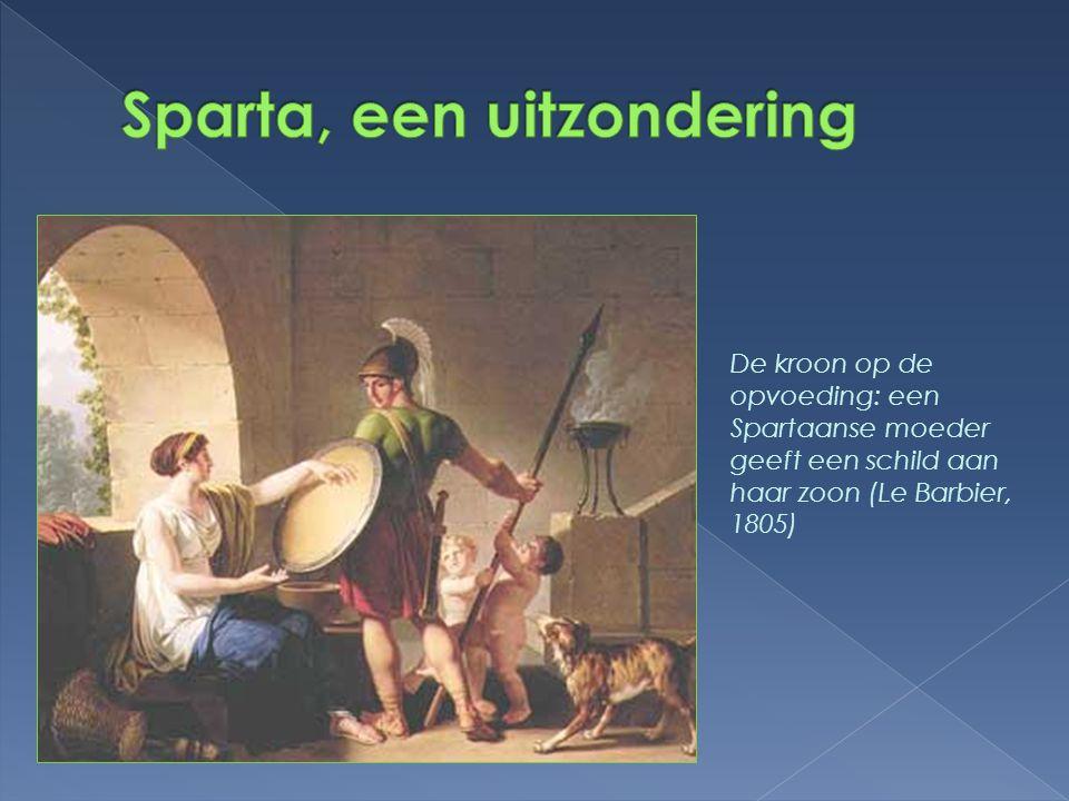 De kroon op de opvoeding: een Spartaanse moeder geeft een schild aan haar zoon (Le Barbier, 1805)