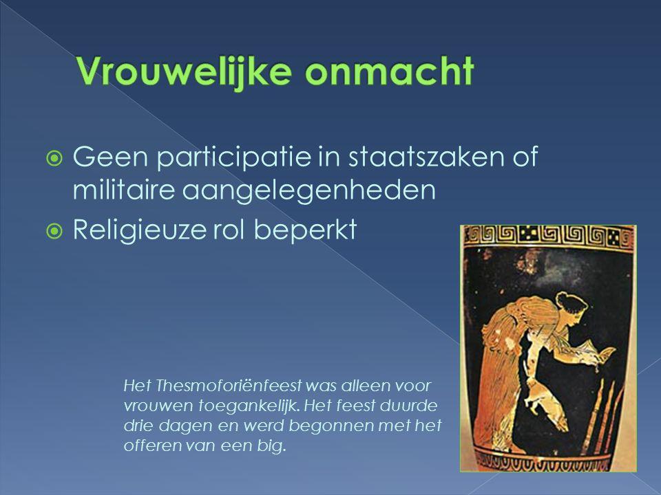  Geen participatie in staatszaken of militaire aangelegenheden  Religieuze rol beperkt Het Thesmoforiënfeest was alleen voor vrouwen toegankelijk. H