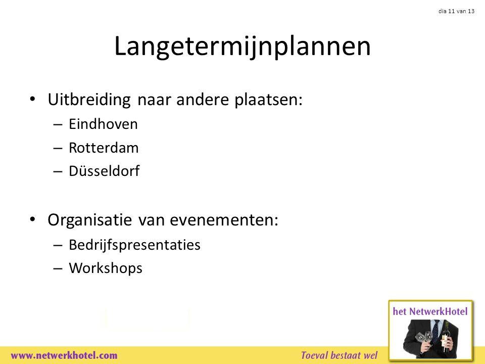 dia 11 van 13 Langetermijnplannen Uitbreiding naar andere plaatsen: – Eindhoven – Rotterdam – Düsseldorf Organisatie van evenementen: – Bedrijfspresentaties – Workshops
