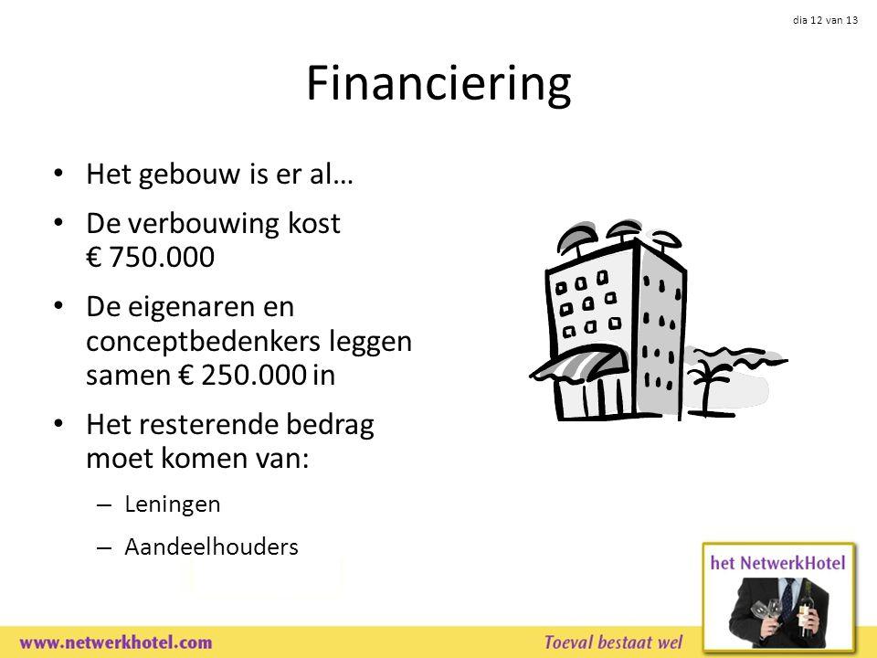 dia 12 van 13 Financiering Het gebouw is er al… De verbouwing kost € 750.000 De eigenaren en conceptbedenkers leggen samen € 250.000 in Het resterende bedrag moet komen van: – Leningen – Aandeelhouders