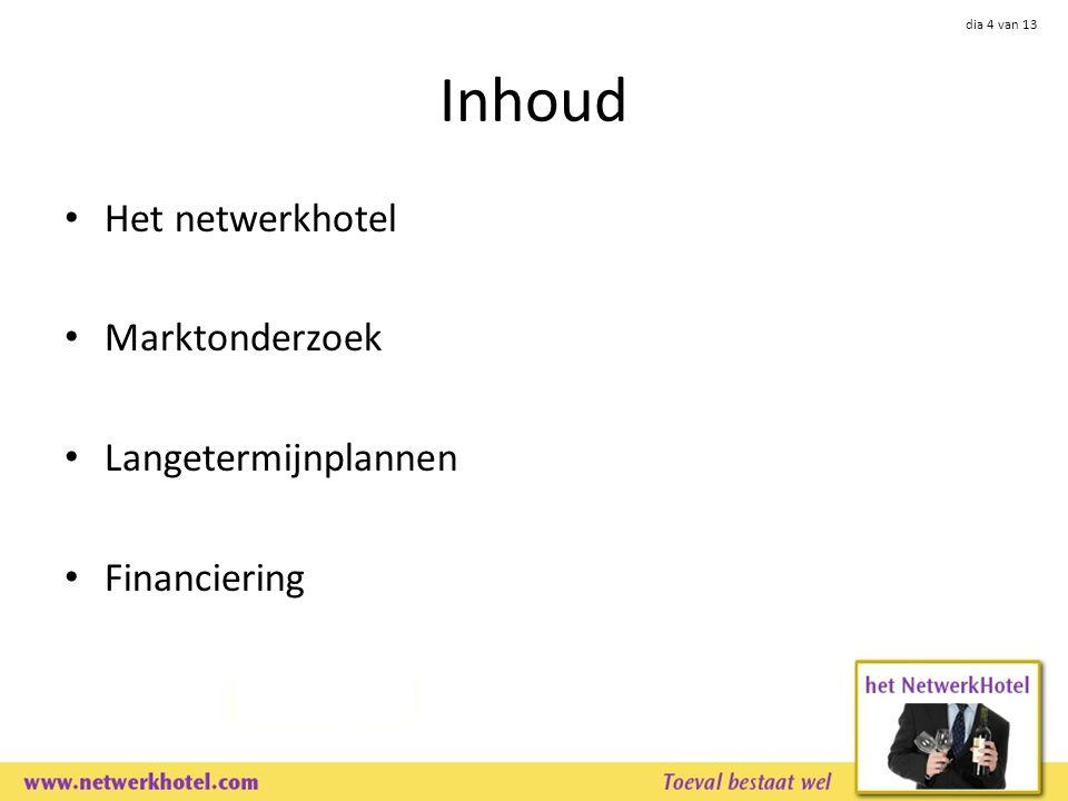 dia 4 van 13 Inhoud Het netwerkhotel Marktonderzoek Langetermijnplannen Financiering