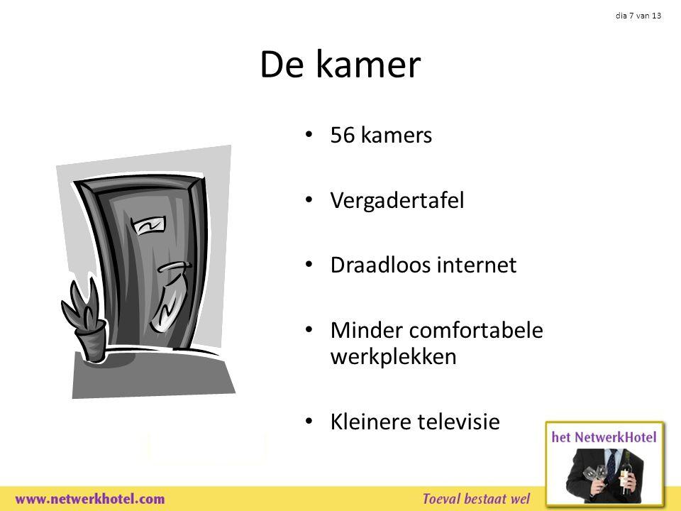 dia 7 van 13 De kamer 56 kamers Vergadertafel Draadloos internet Minder comfortabele werkplekken Kleinere televisie