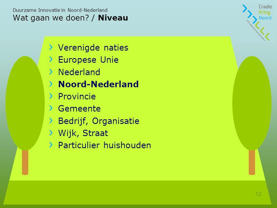 Duurzame Innovatie in Noord-Nederland 12 Wat gaan we doen.