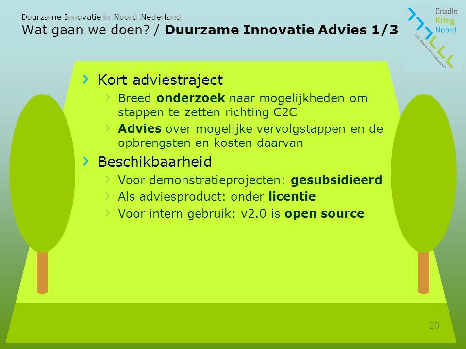 Duurzame Innovatie in Noord-Nederland 20 Wat gaan we doen.