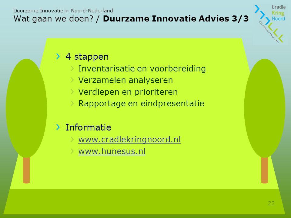 Duurzame Innovatie in Noord-Nederland 22 Wat gaan we doen.