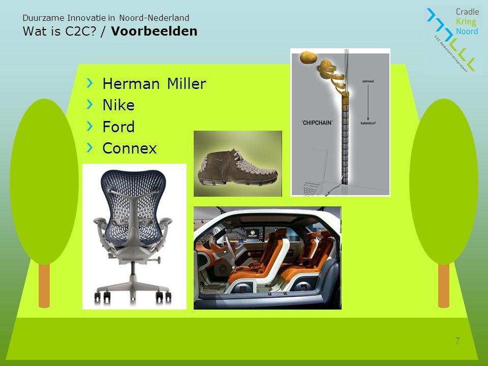 Duurzame Innovatie in Noord-Nederland 7 Wat is C2C? / Voorbeelden Herman Miller Nike Ford Connex