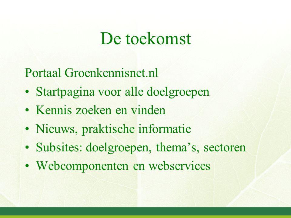 De toekomst Portaal Groenkennisnet.nl Startpagina voor alle doelgroepen Kennis zoeken en vinden Nieuws, praktische informatie Subsites: doelgroepen, thema's, sectoren Webcomponenten en webservices