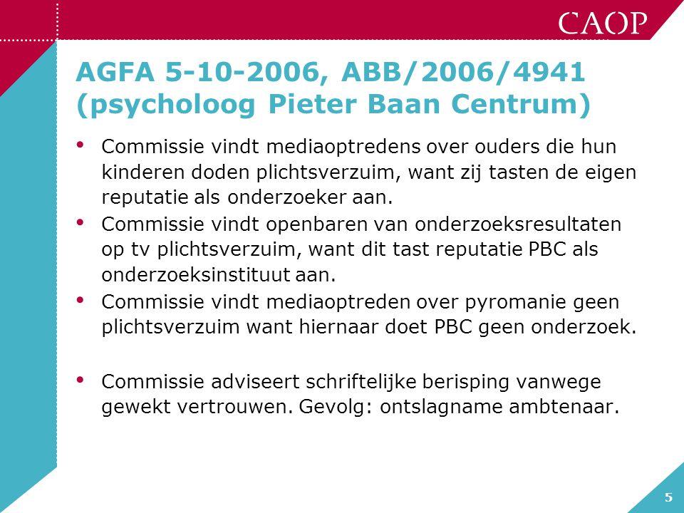 5 AGFA 5-10-2006, ABB/2006/4941 (psycholoog Pieter Baan Centrum) Commissie vindt mediaoptredens over ouders die hun kinderen doden plichtsverzuim, wan