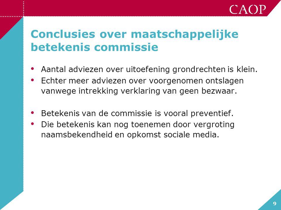 9 Conclusies over maatschappelijke betekenis commissie Aantal adviezen over uitoefening grondrechten is klein. Echter meer adviezen over voorgenomen o