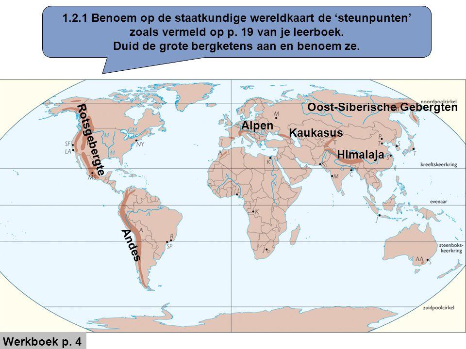 1.2.1 Benoem op de staatkundige wereldkaart de 'steunpunten' zoals vermeld op p. 19 van je leerboek. Duid de grote bergketens aan en benoem ze. Rotsge